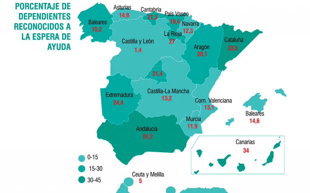 El mapa muestra las grandes diferencias entre comunidades a la hora de atender a sus dependientes