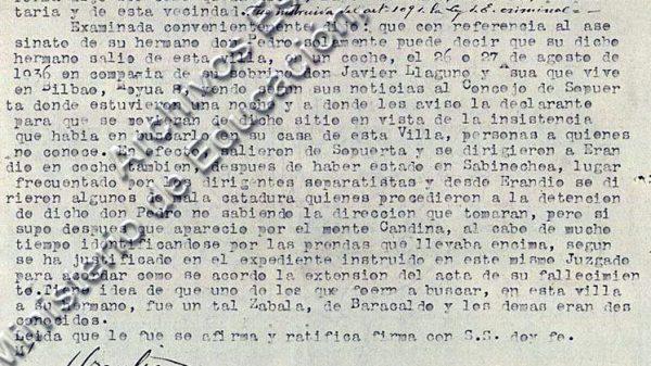 Declaración de Marcela de Asúa.