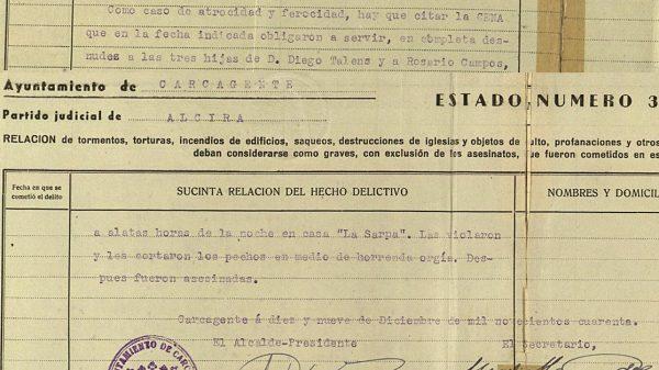 Mención de mutilaciones y violaciones cometidas en Carcagente.
