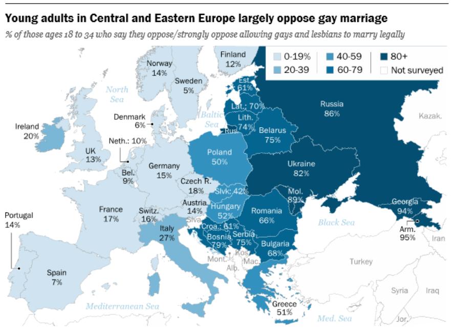 El mapa del matrimonio homosexual visto por los jóvenes eueopeos