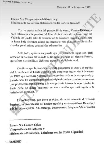 Carta del Vaticano filtrada por El Independiente