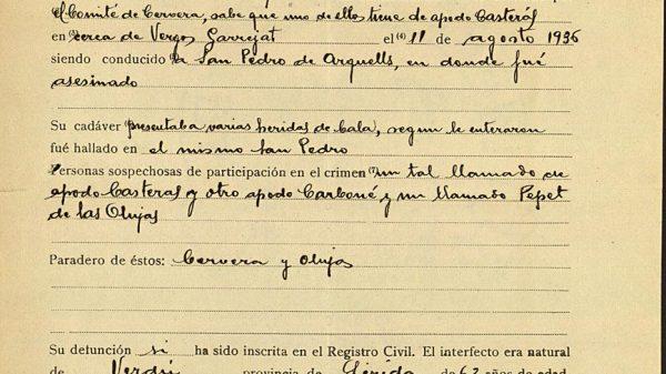Testimonio de la madre del sacerdote asesinado con el beato Antonio Casany.
