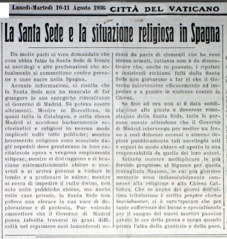 L'Osservatore Romano, 10 de agosto de 1936.
