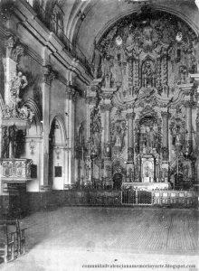 Alcoy. Interior de la iglesia de San Mauro y San Francisco a principios del siglo XX.