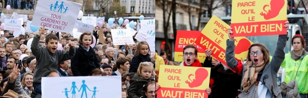 Sendas manifestaciones en París contra el matrimonio gay y contra el aborto