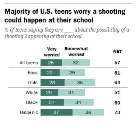Los adolescentes temen que pueda haber ataques armados en sus escuelas