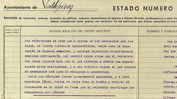 Informe del Ayuntamiento de Valdepeñas sobre los crímenes de la Revolución.