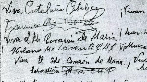 ¡Viva Cataluña católica!, escribió uno de los mártires.