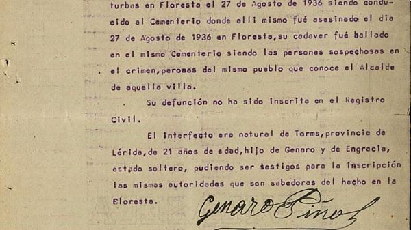 Declaración del padre de uno de los mártires de Floresta.