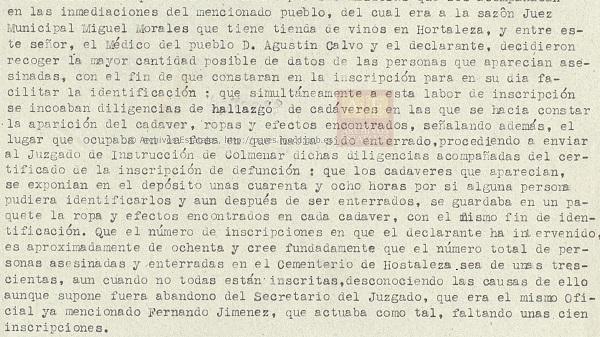 Declaración del secretario del juzgado de Hortaleza.