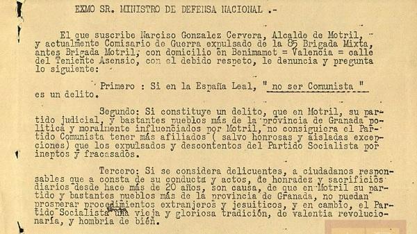 Denuncia del exalcalde de Motril sobre la traición de los comunistas.